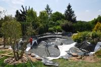 zahradní jezírko pro chov Koi kaprů